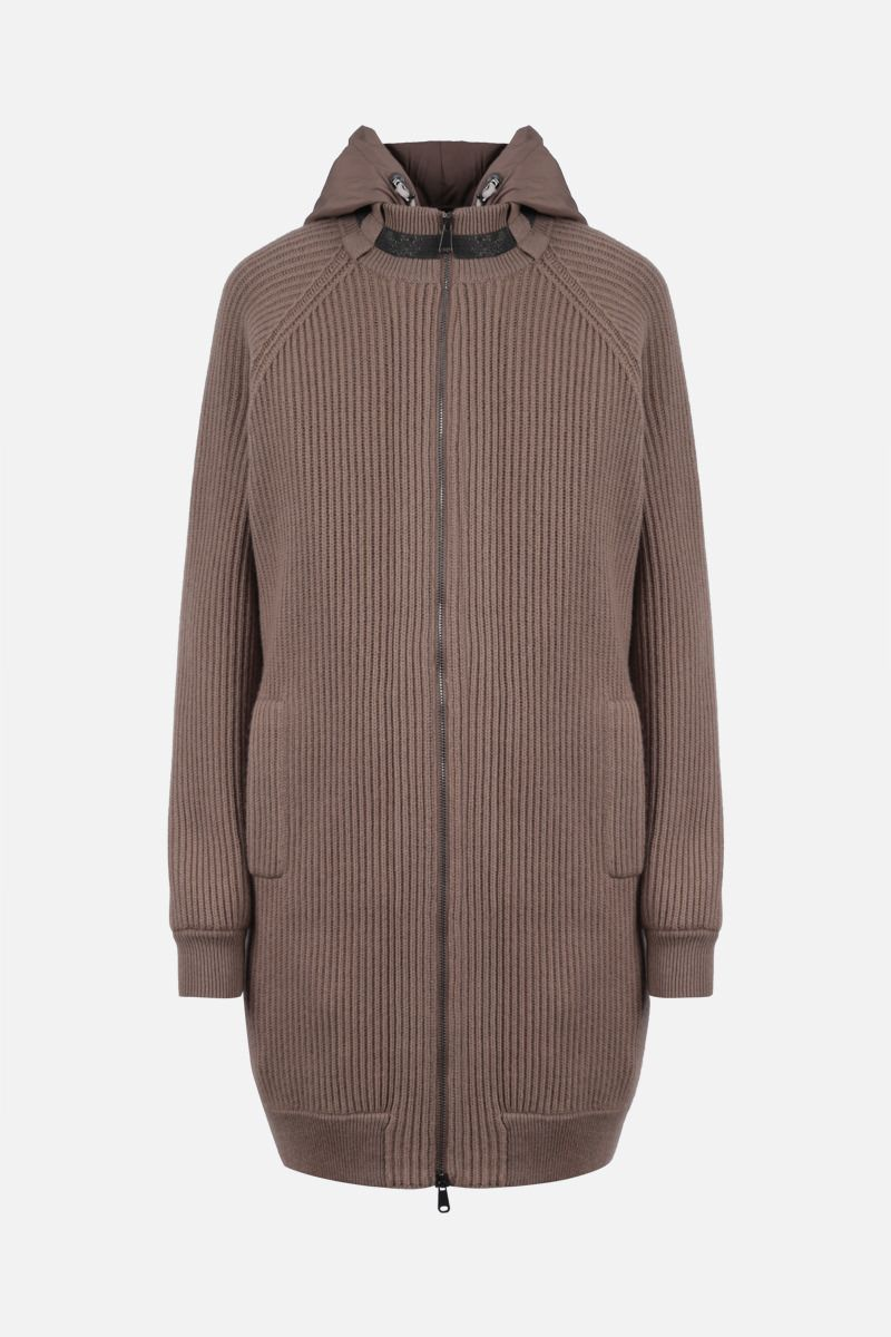 BRUNELLO CUCINELLI: cashmere full-zip cardigan with removable padded vest Color Brown_1
