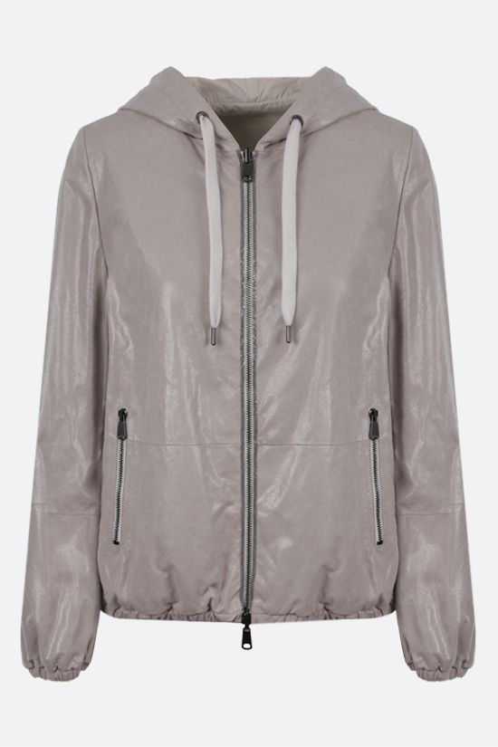 BRUNELLO CUCINELLI: suede and nylon reversible jacket Color Neutral_1