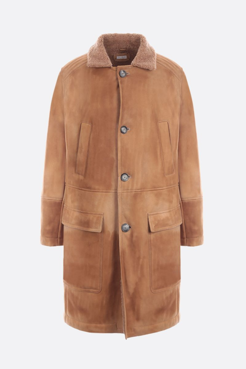 BRUNELLO CUCINELLI: shearling single-breasted coat Color Neutral_1