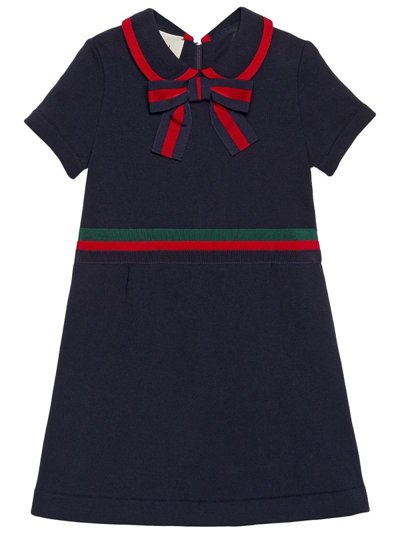 GUCCI CHILDREN: Web-detailed cotton dress Color Blue_1