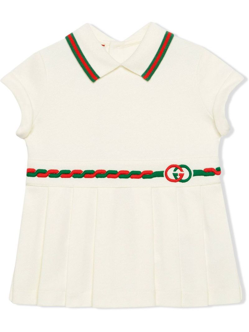 GUCCI CHILDREN: Web-detailed stretch cotton dress_1