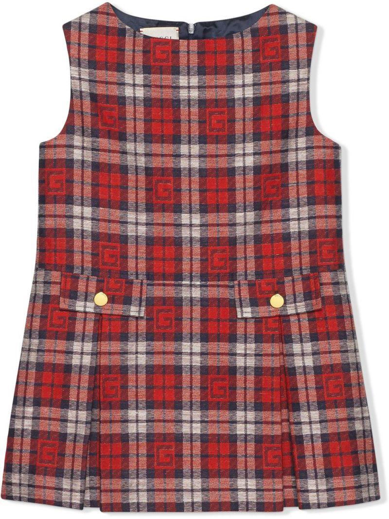 GUCCI CHILDREN: Square G check cotton linen blend sleeveless dress Color Red_1