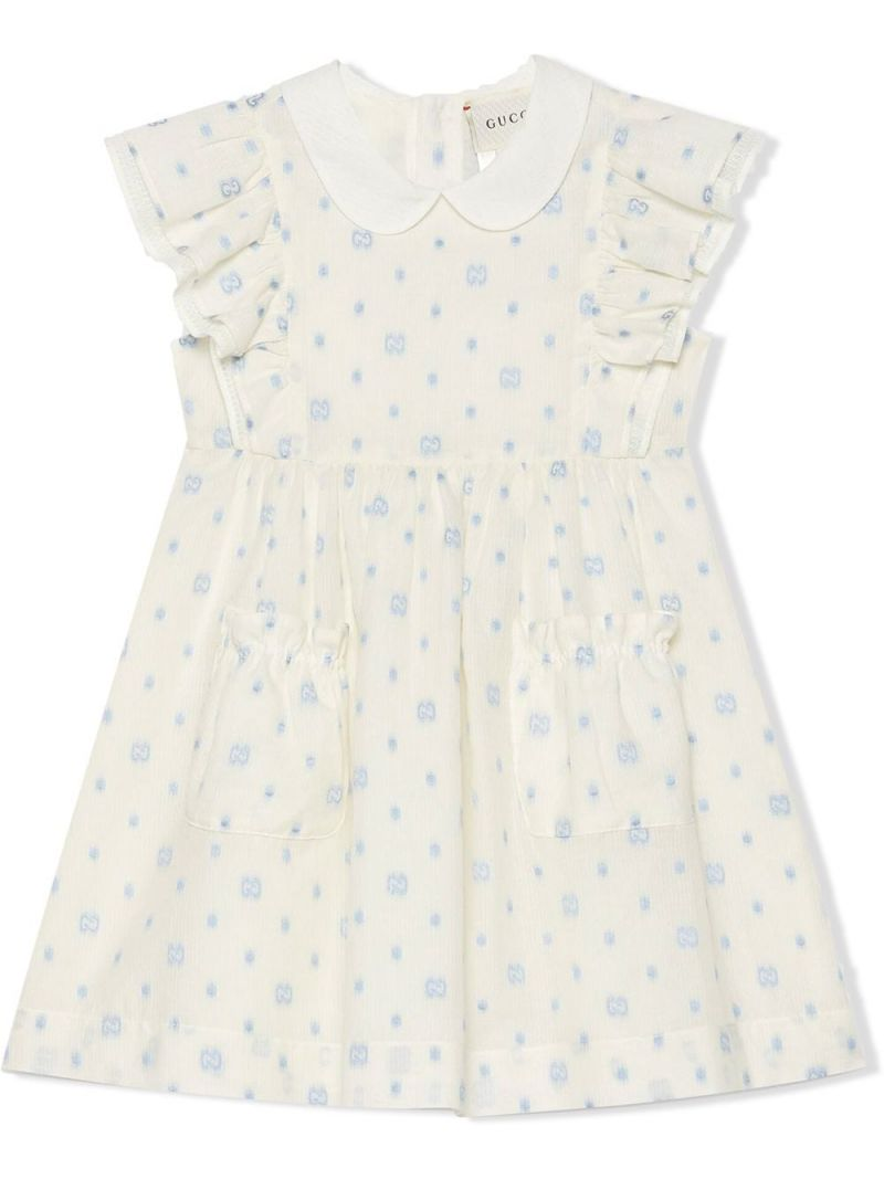 GUCCI CHILDREN: GG dots cotton sleeveless dress Color White_1