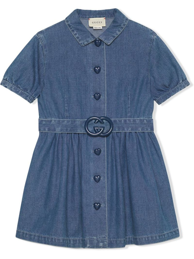 GUCCI CHILDREN: Interlocking G buckle-detailed denim dress Color Blue_1