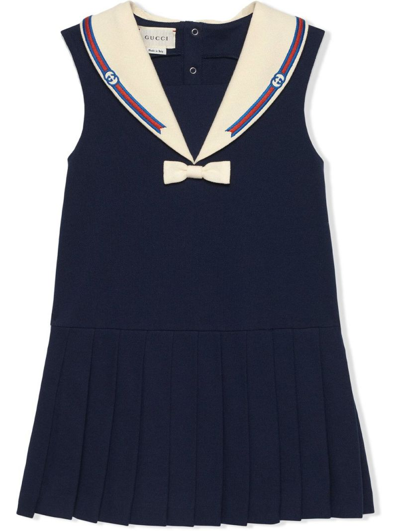 GUCCI CHILDREN: short cotton dress with Web and Interlocking G Color Blue_1