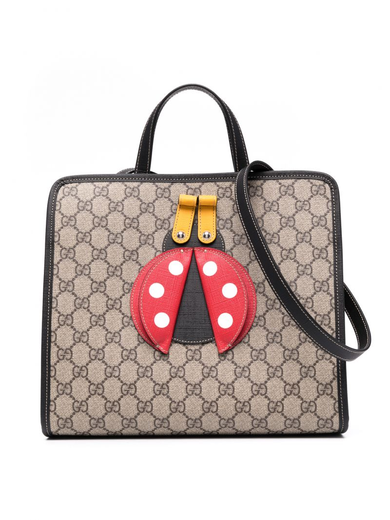 GUCCI CHILDREN: ladybug patch GG Supreme coated canvas shopping bag Color Neutral_1
