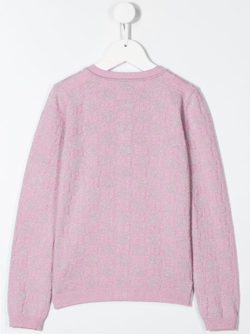 GUCCI CHILDREN: GG wool blend cardigan Color Pink_2