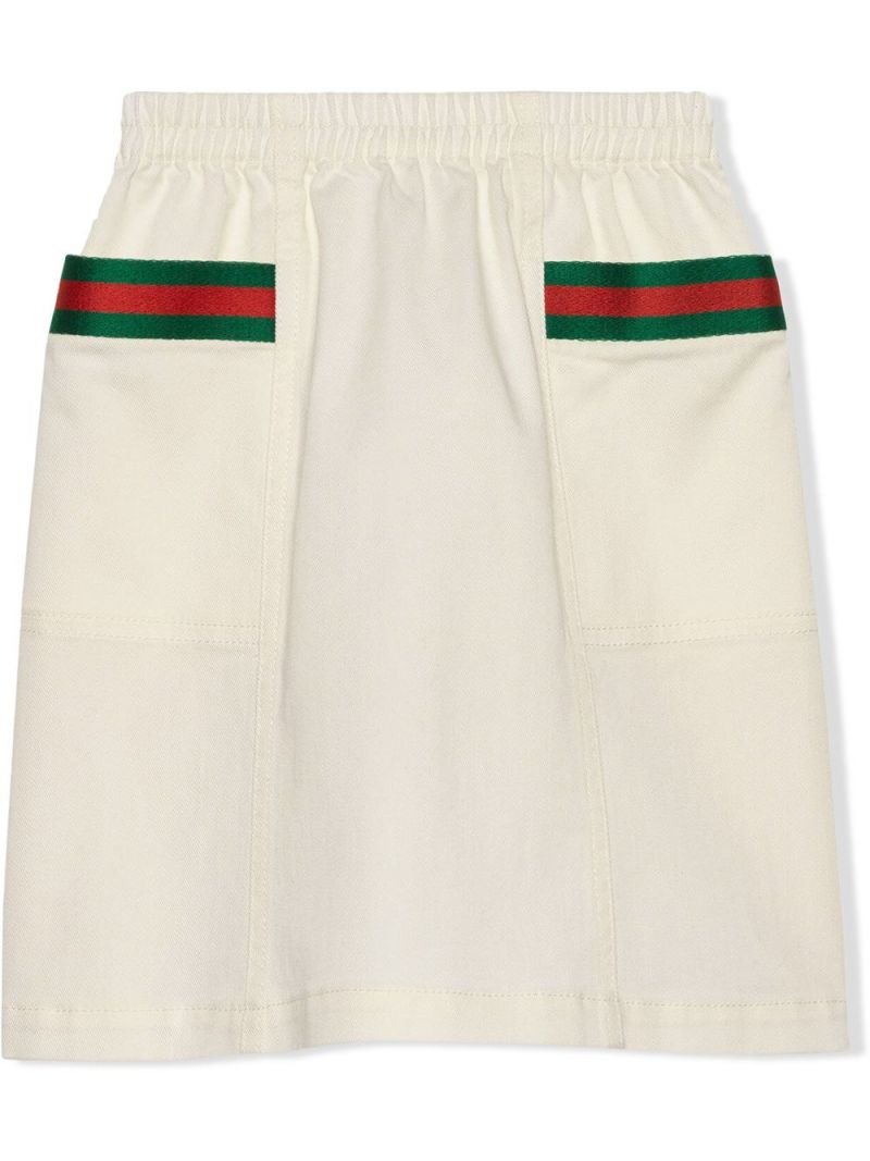GUCCI CHILDREN: Web-detailed stretch cotton skirt Color White_1