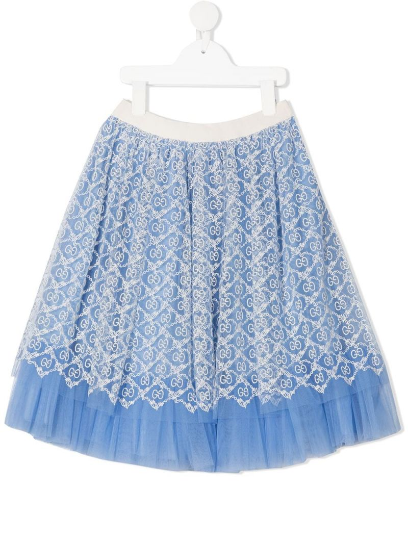 GUCCI CHILDREN: GG embroidered tulle flared skirt_1