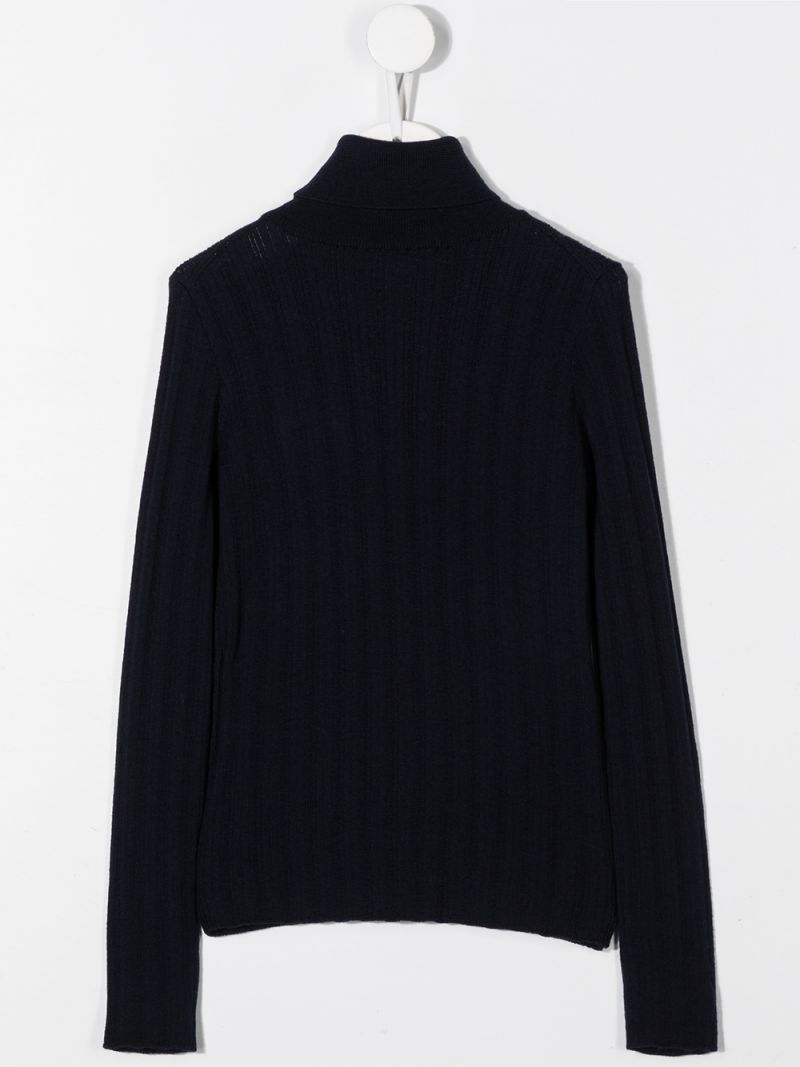 GUCCI CHILDREN: Interlocking G embroidered wool turtleneck Color Blue_2