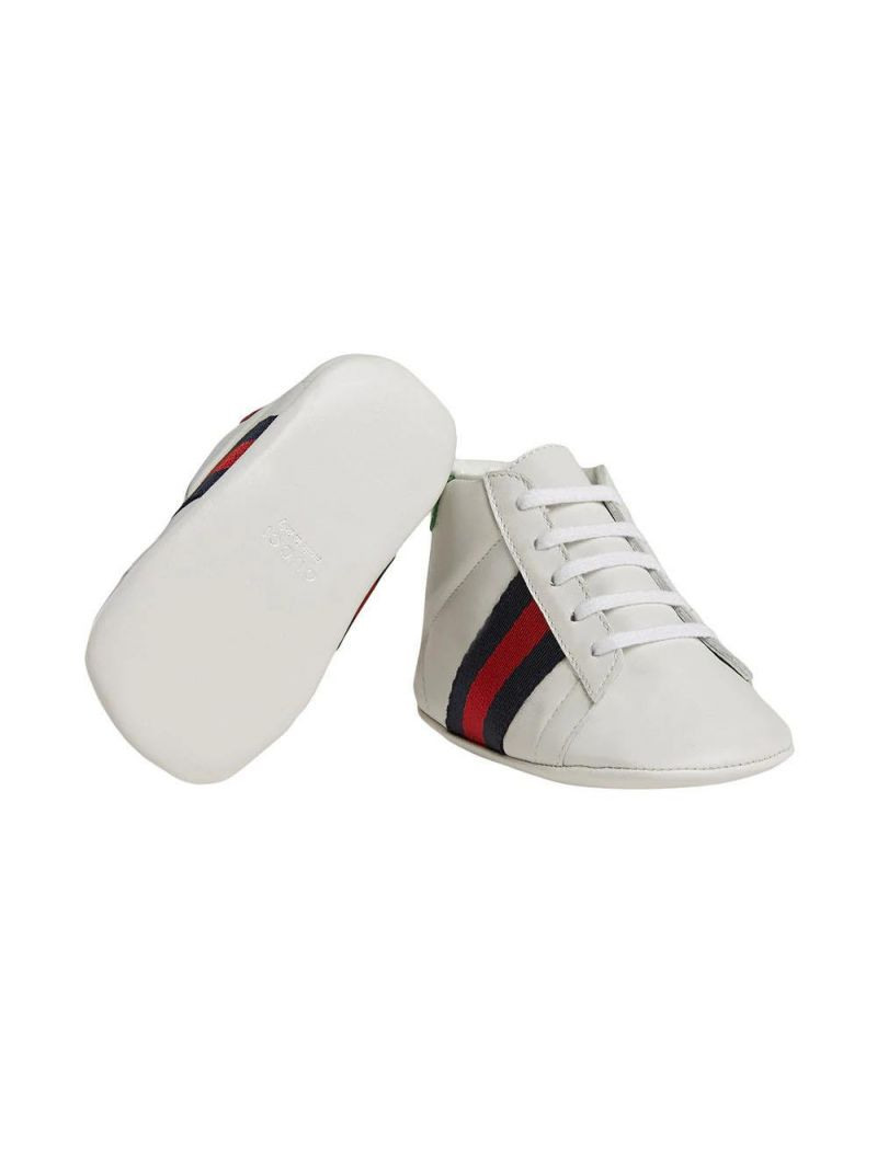 GUCCI CHILDREN: leather sneakers with Web detail Color Multicolor_2