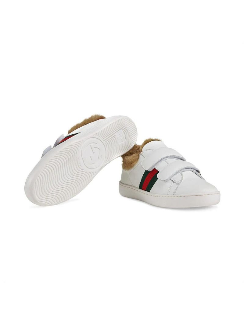 GUCCI CHILDREN: leather sneakers with faux fur lining Color Multicolor_2