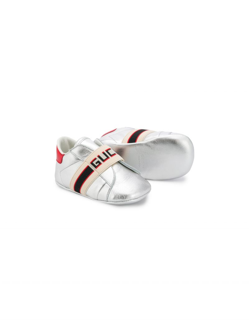 GUCCI CHILDREN: laminated leather sneakers with logoed detail Color Gold_2