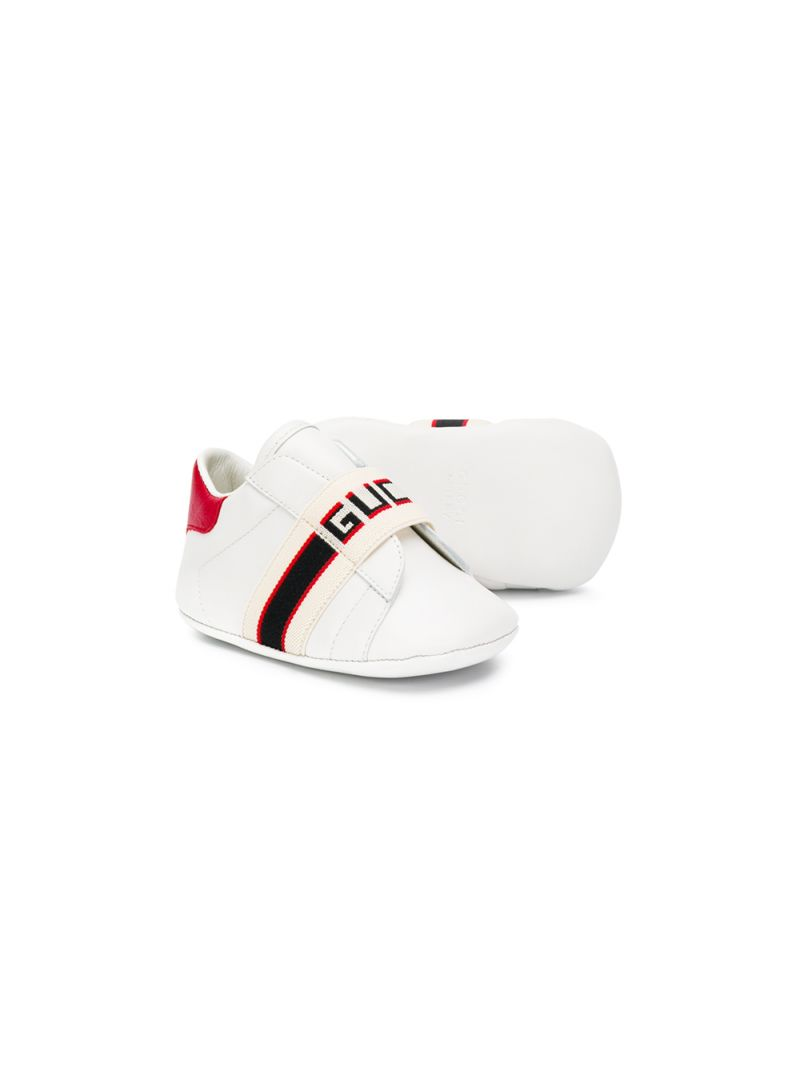 GUCCI CHILDREN: leather sneakers with logoed detail_2