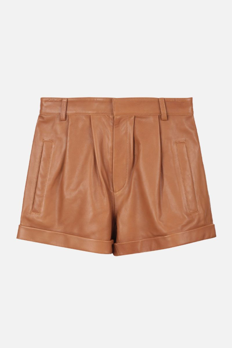 FEDERICA TOSI: leather shorts Color Neutral_1