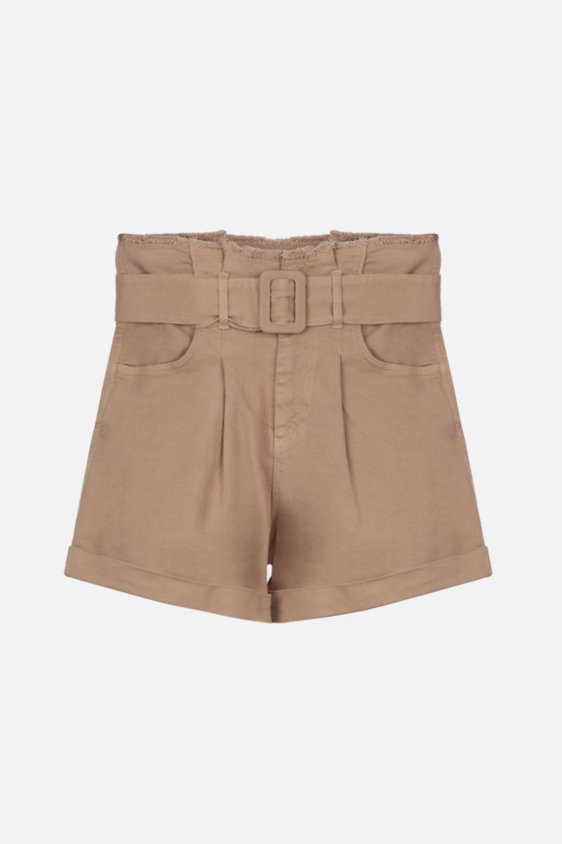 FEDERICA TOSI: denim darted shorts Color Neutral_1