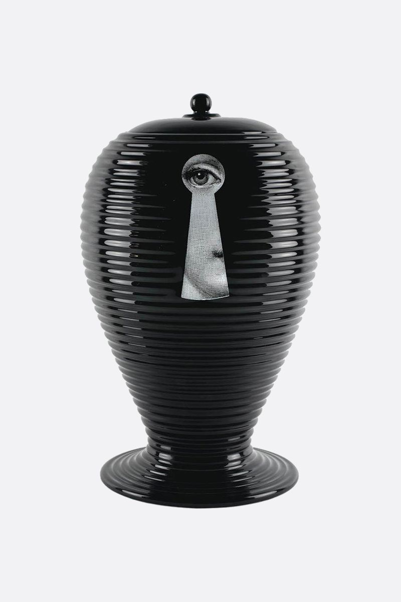 FORNASETTI: Rigato Serratura ceramic vase Color White_2