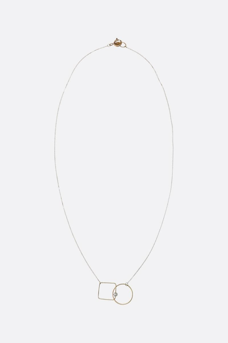 LIA DI GREGORIO: Quadrato e Cerchio Box gold necklace with pearl Color Gold_1