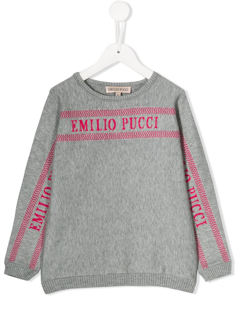 EMILIO PUCCI JUNIOR: logo intarsia knit pullover Color Grey_1