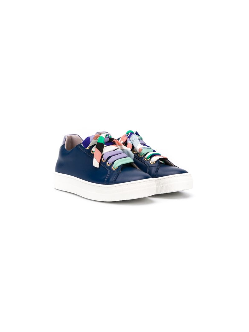 EMILIO PUCCI JUNIOR: smooth leather sneakers Color Blue_1
