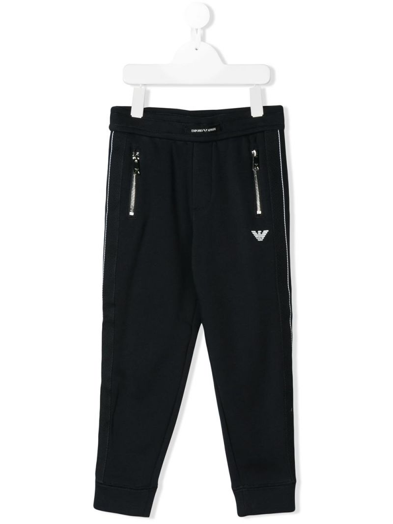 EMPORIO ARMANI KIDS: jersey joggers with contrasting bands Color Blue_1