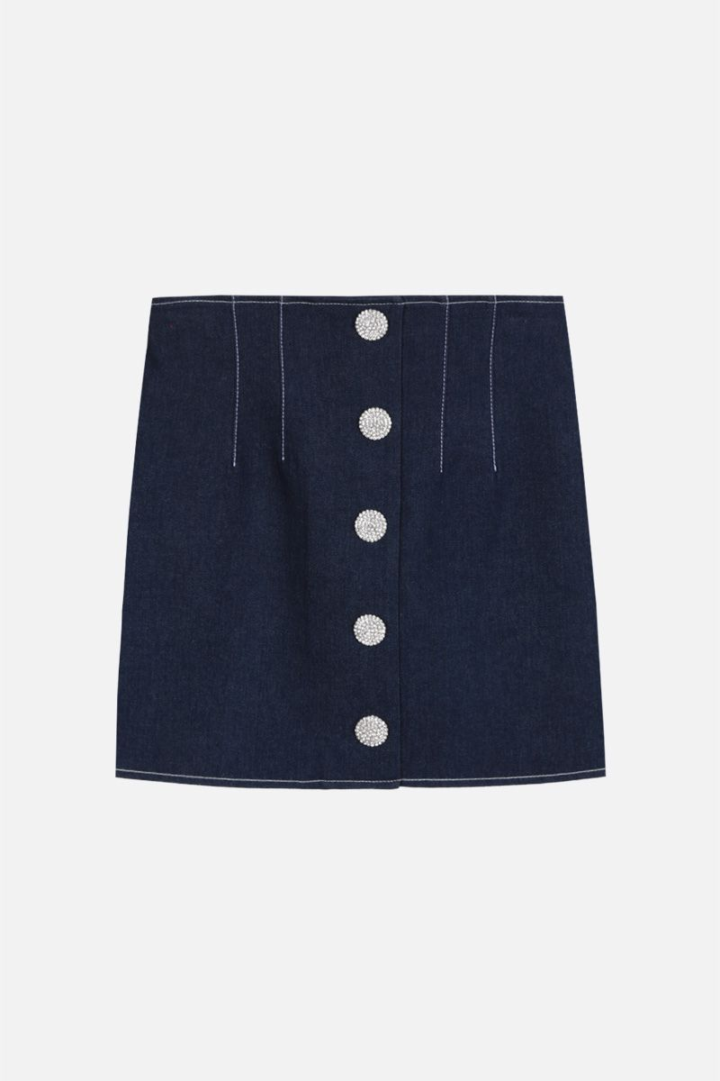 GIUSEPPE DI MORABITO: denim miniskirt with jeweled buttons Color Blue_1