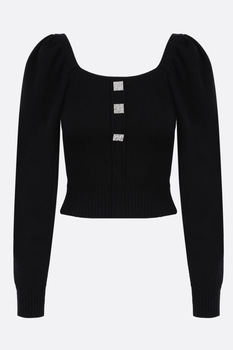 GIUSEPPE DI MORABITO: jewel button-detailed wool cropped pullover Color Black_1