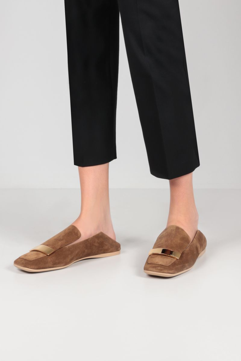 SERGIO ROSSI: SR1 suede slippers Color Neutral_2