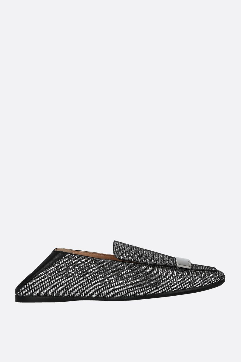 SERGIO ROSSI: SR1 glitter fabric and nappa slippers Color Silver_2