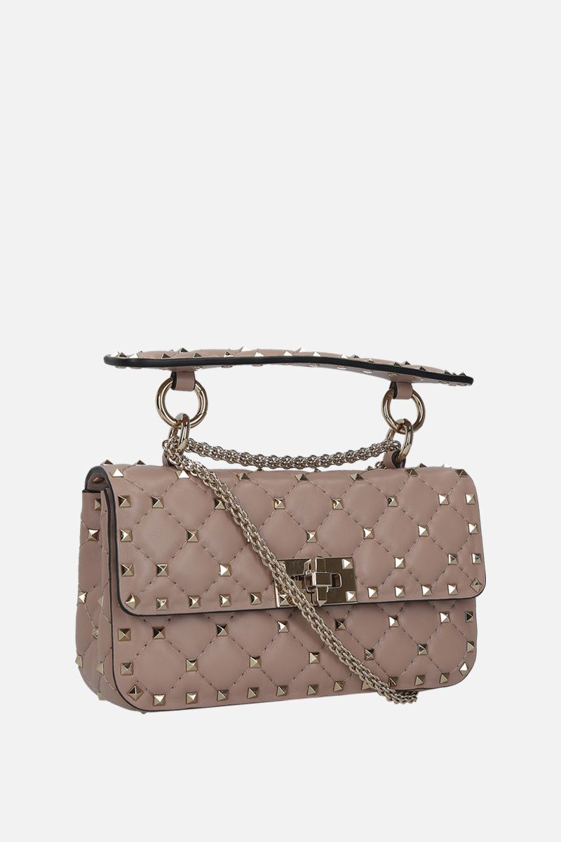 VALENTINO GARAVANI: Rockstud Spike small quilted nappa crossbody bag Color Pink_2