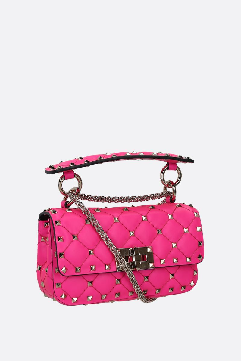 VALENTINO GARAVANI: Rockstud Spike mini quilted leather crossbody bag Color Pink_2