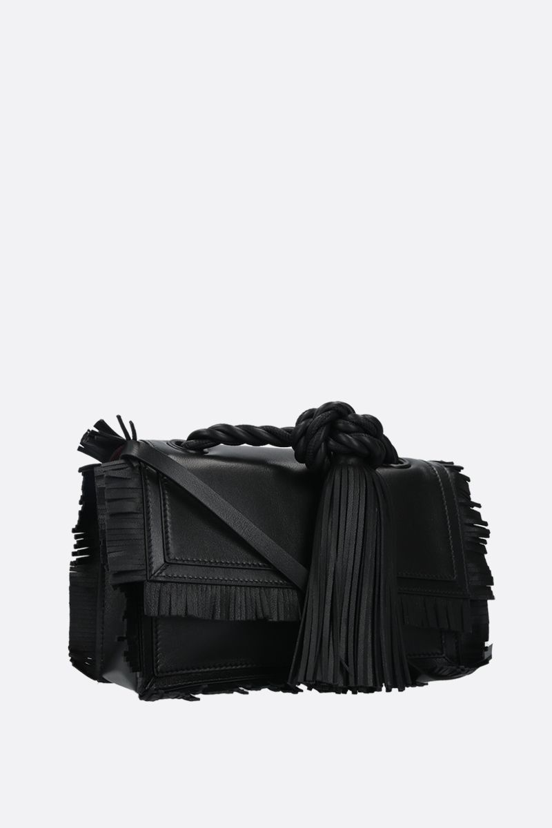 VALENTINO GARAVANI: The Rope small smooth leather shoulder bag Color Black_2