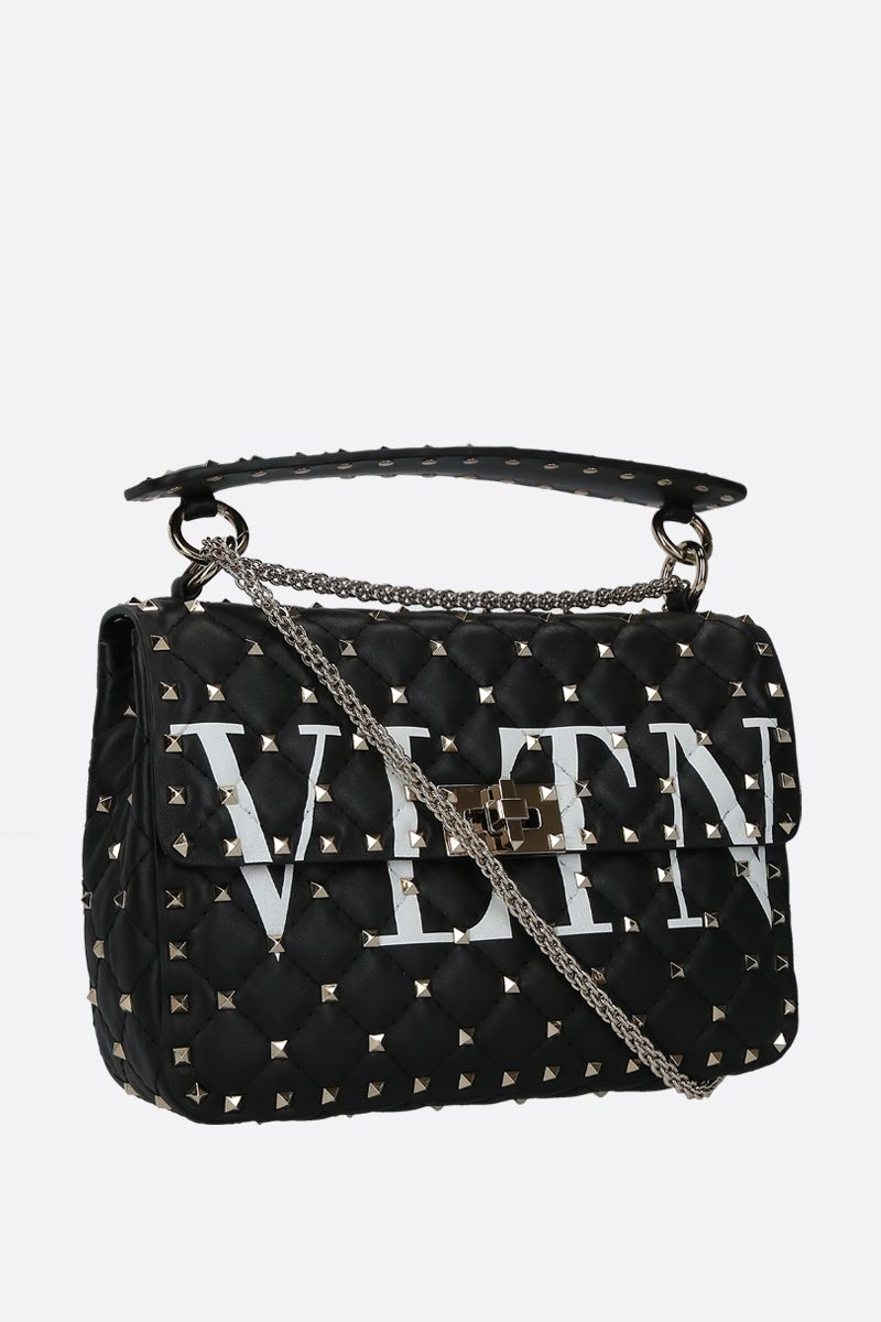 VALENTINO GARAVANI: Rockstud Spike medium chain bag in quilted nappa Color Black_2