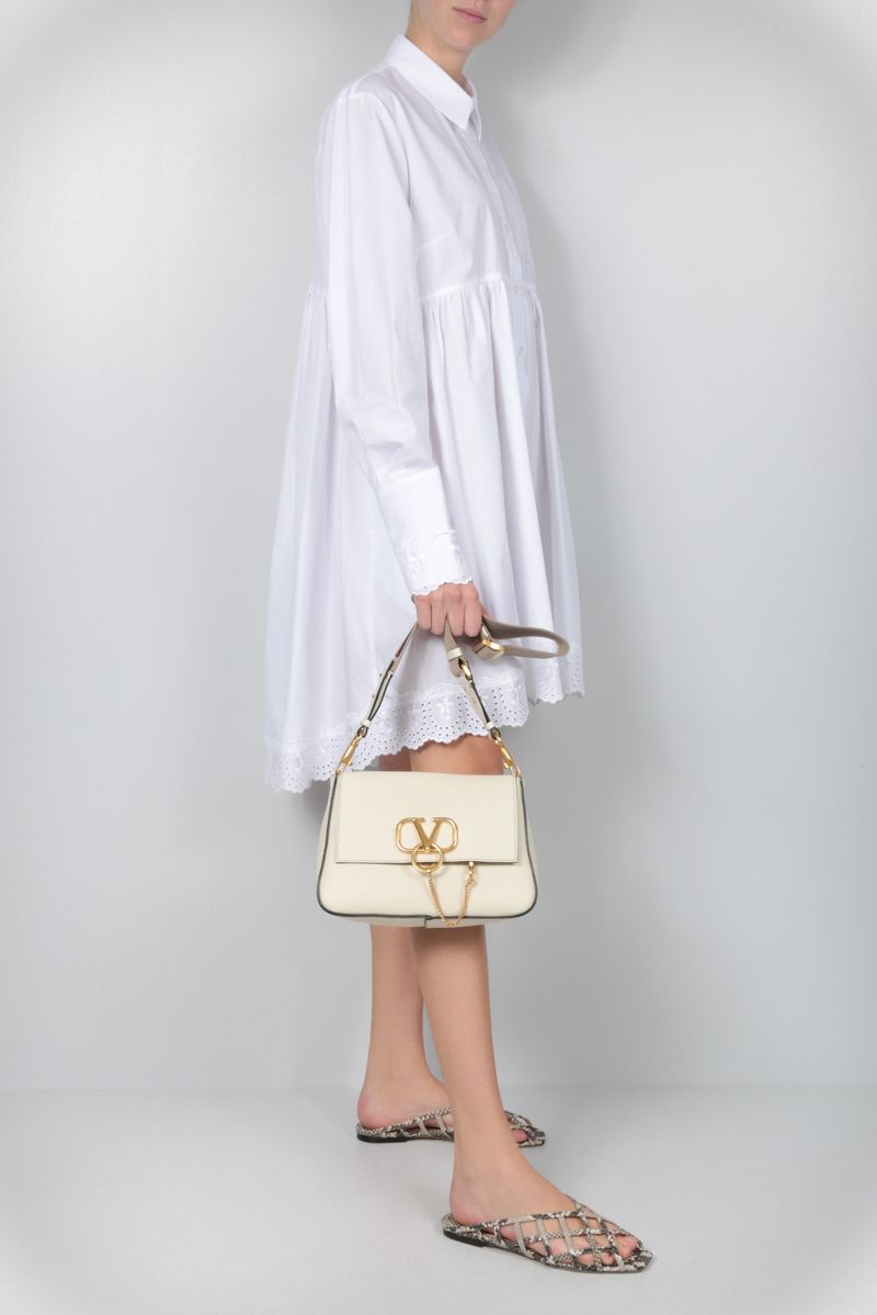 VALENTINO GARAVANI: VRING small shoulder bag in grainy leather Color Neutral_2