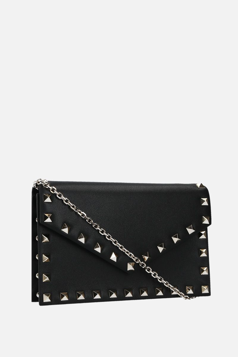 VALENTINO GARAVANI: Rockstud chain wallet in smooth leather Color Black_2