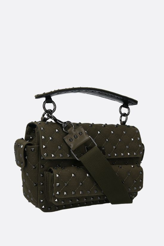 VALENTINO GARAVANI: Rockstud Spike medium quilted canvas crossbody bag Color Green_2