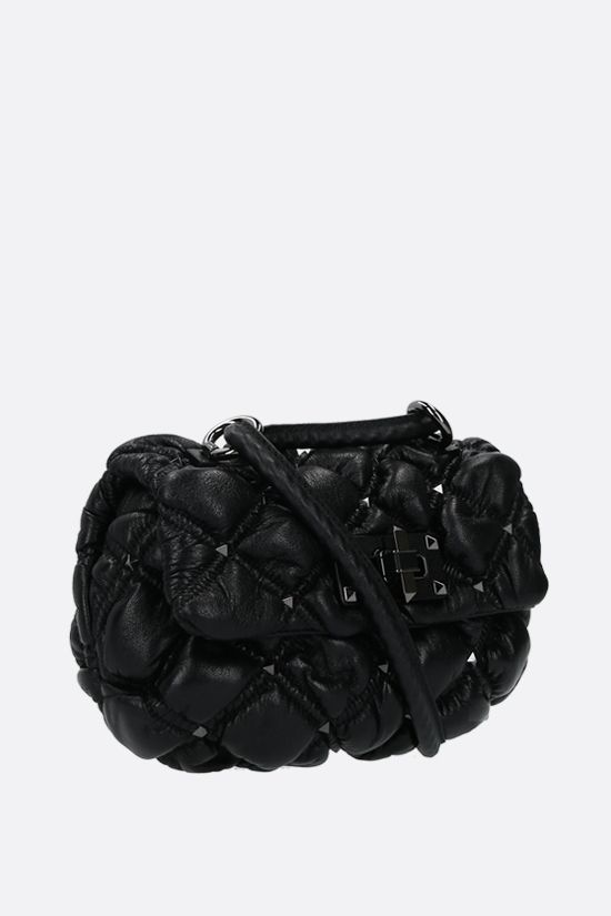 VALENTINO GARAVANI: Spikeme small quilted nappa shoulder bag Color Black_2