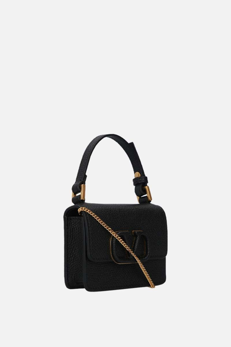 VALENTINO GARAVANI: VSLING grainy leather chain wallet Color Black_2