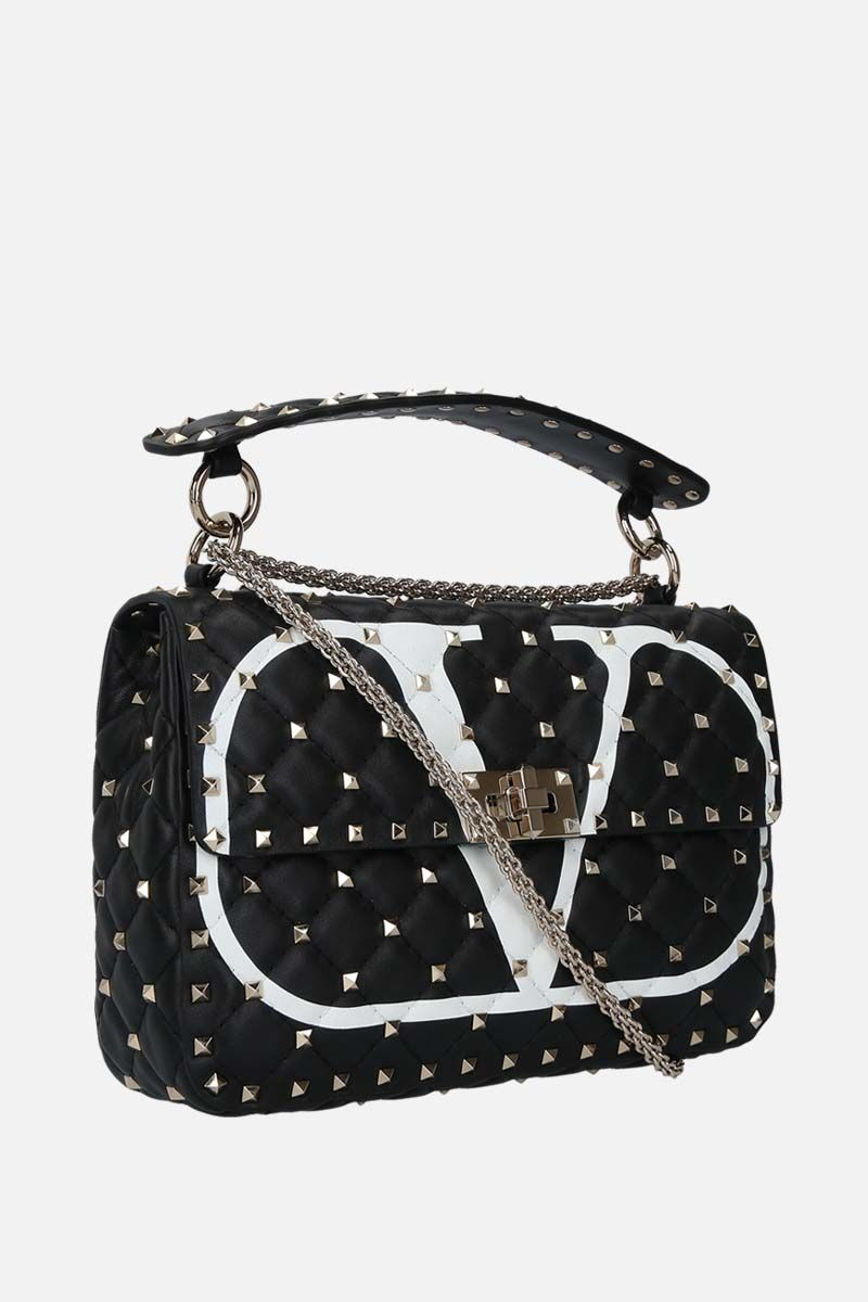 VALENTINO GARAVANI: Rockstud Spike medium quilted nappa crossbody bag Color Black_2