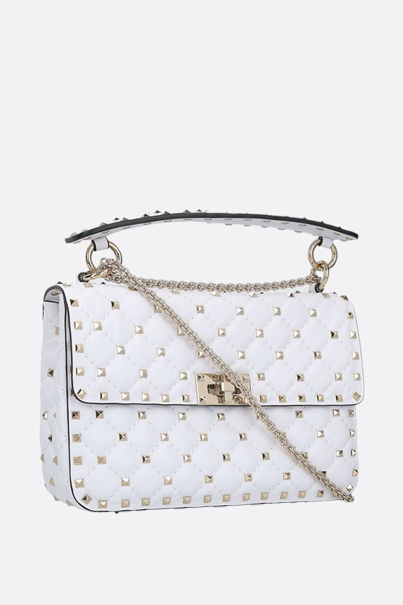 VALENTINO GARAVANI: Rockstud Spike medium quilted nappa crossbody bag Color White_2