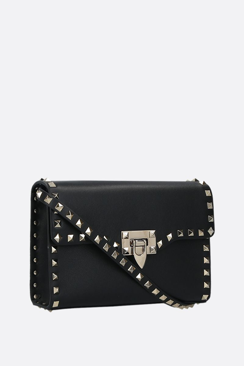 VALENTINO GARAVANI: Rockstud small smooth leather shoulder bag Color Black_2