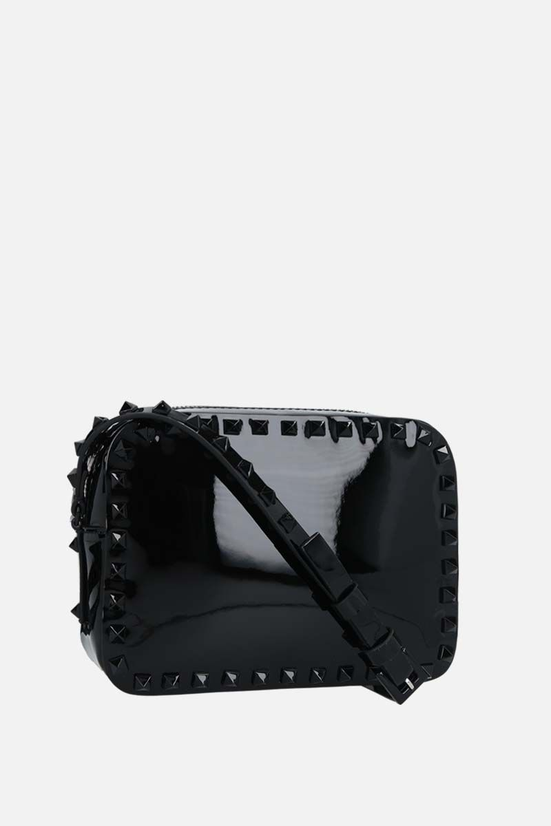VALENTINO GARAVANI: Rockstud small patent leather crossbody bag Color Black_2