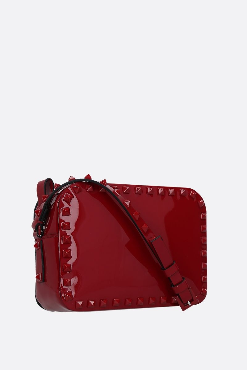 VALENTINO GARAVANI: Rockstud small patent leather crossbody bag Color Red_2