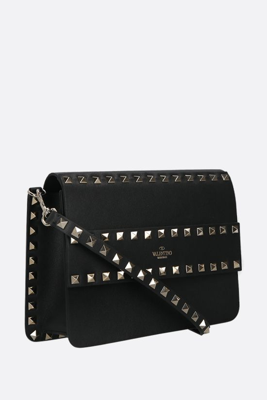 VALENTINO GARAVANI: Rockstud smooth leather shoulder bag Color Black_2