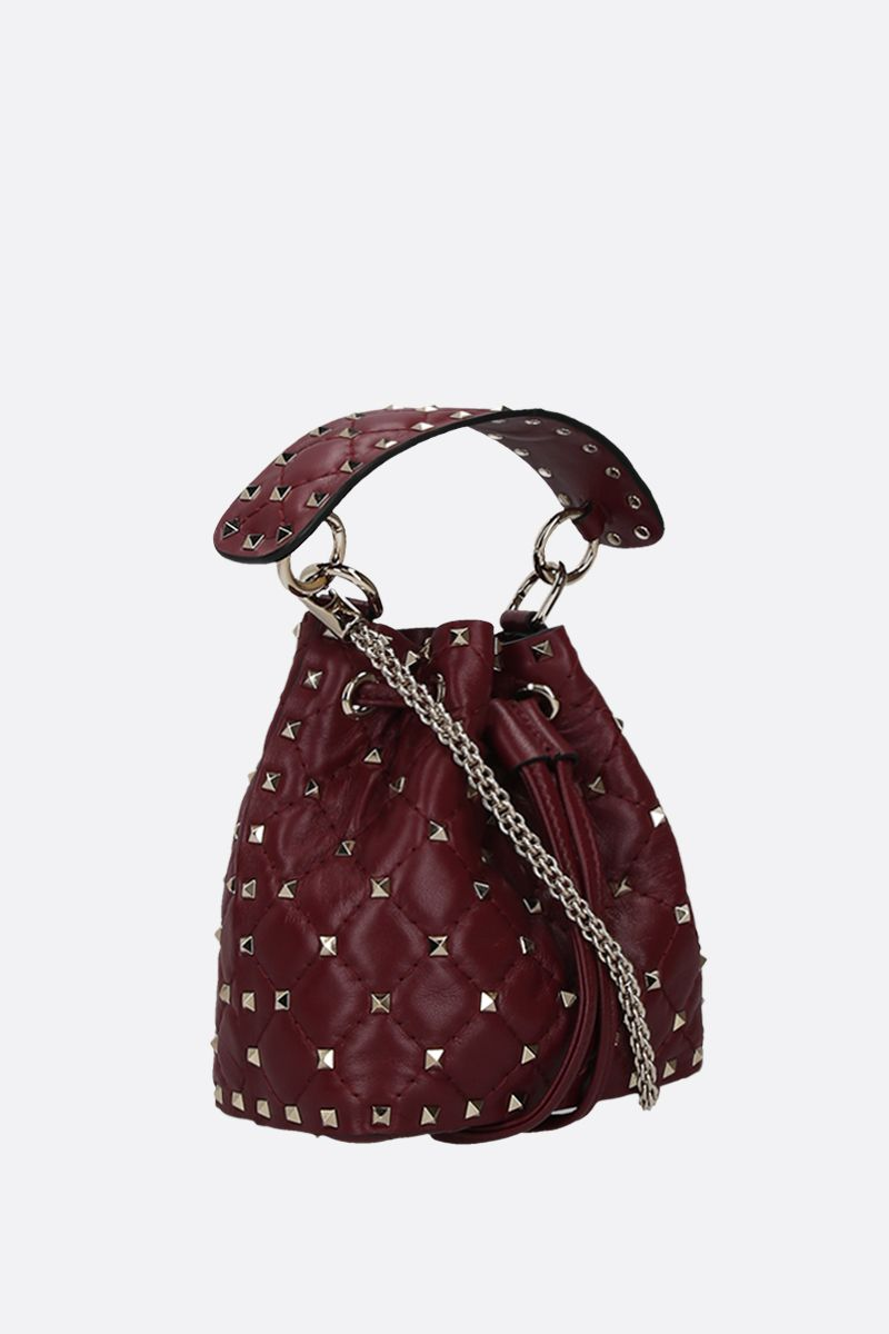 VALENTINO GARAVANI: Rockstud quilted nappa bucket bag Color Red_2