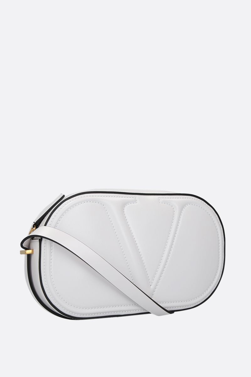 VALENTINO GARAVANI: VLOGO WALK shiny leather camera bag Color White_2