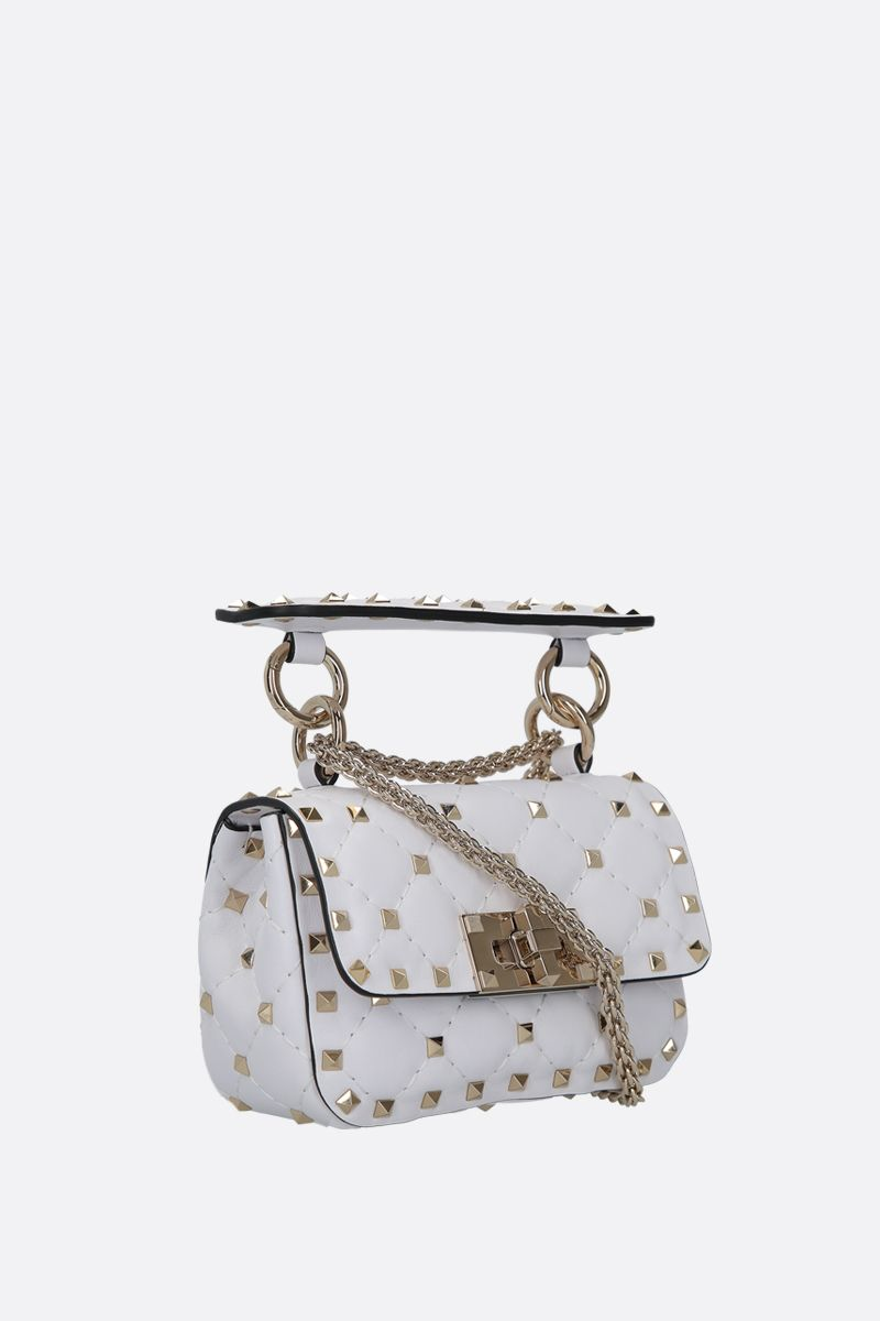 VALENTINO GARAVANI: Rockstud Spike micro quilted nappa crossbody bag Color White_2