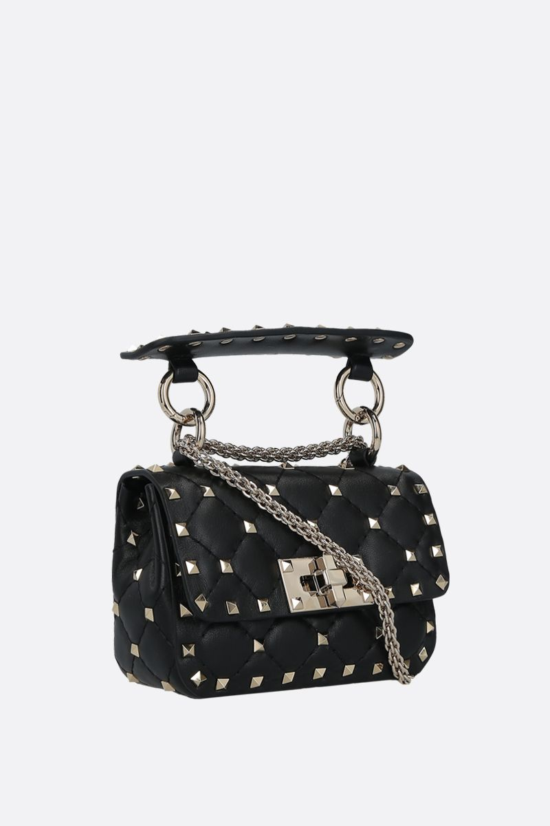 VALENTINO GARAVANI: Rockstud Spike micro quilted nappa crossbody bag Color Black_2