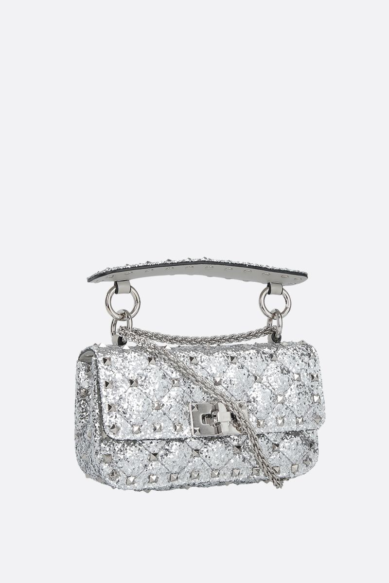 VALENTINO GARAVANI: Rockstud Spike micro glitter fabric crossbody bag Color Silver_2