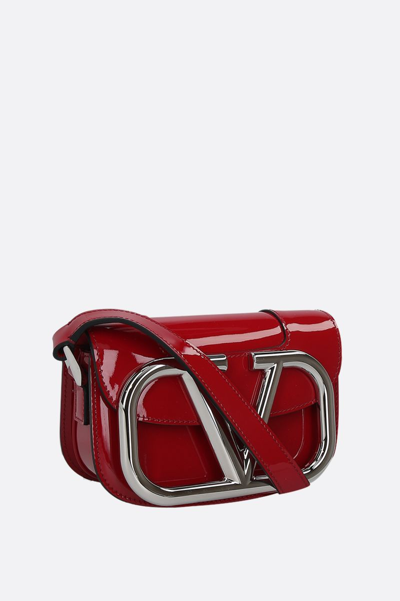 VALENTINO GARAVANI: Supervee small patent leather shoulder bag Color Red_2